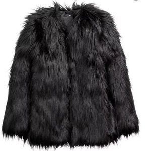 NWT!! H&M Women's Black Faux Fur Jacket Sz 8 US